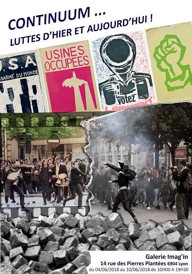 Ouverture de l'expo « Continuum Luttes d'hier et aujourd'hui ! » à la galerie Image In 14 rue des Pierres-Plantées Lyon 69001 A l'occasion de l'anniversaire de Mai 68, l'agence Docpix s'interrogent sur l'héritage de ce mouvement http://docpix.fr/actu/404/continuum-luttes-d-hier-et-aujourd-hui